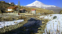 View of Mount Damavand and Haraz River from Manzariye village, Polur